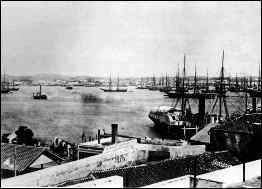 Havana harbor around 1855